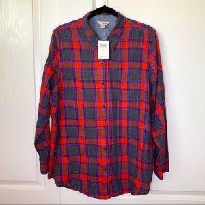 NWT Lucky Brand Light Plaid Flannel Shirt XL